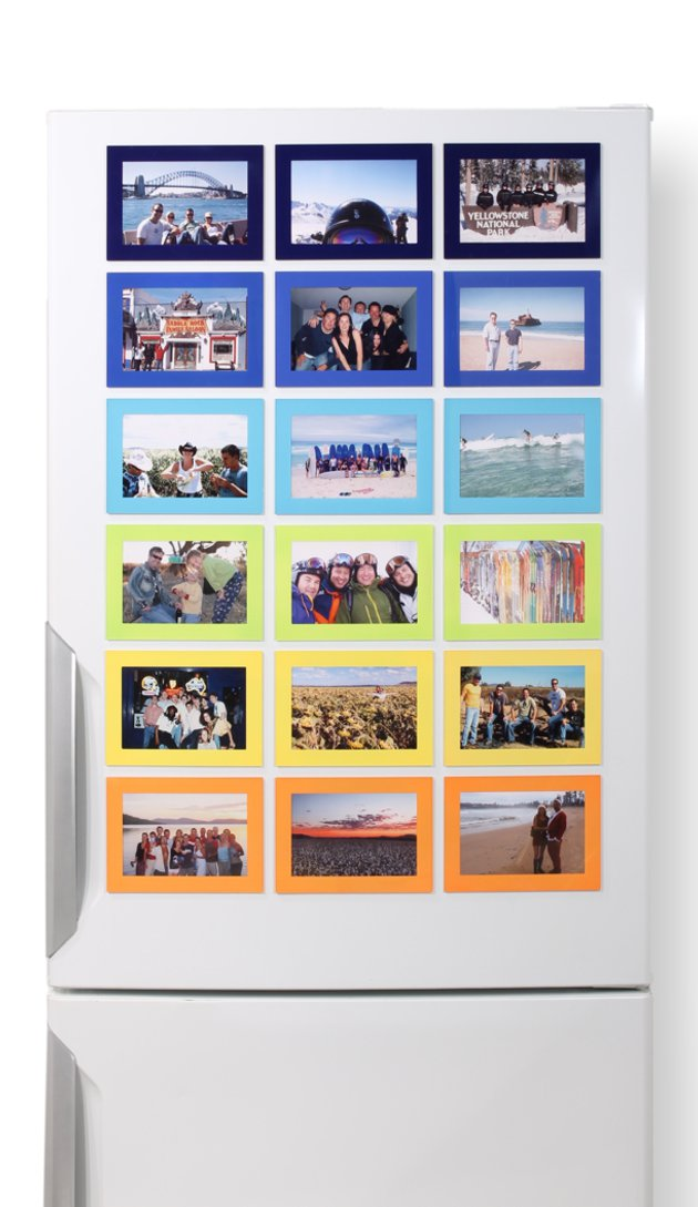 Magnetic Photo Frames on a fridge. 18 frames in 6 colours