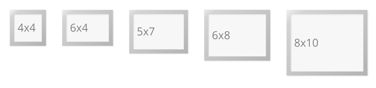 Picture Frames Sizes Common Photo Sizes for 4x4 4x6 5x7 6x8 8x10 photos