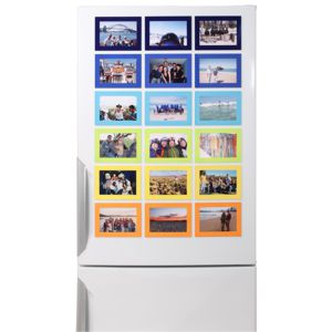 A mix of coloured magnetic photo frame sizes on a fridge