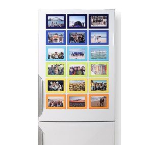 Coloured Magnetic Picture Frames on the Refrigerator