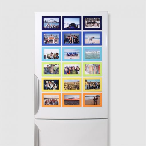 Colored Magnetic Picture Frames on a white refrigerator